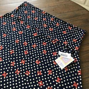 LuLaRoe Skirts - LuLaRoe 3XL Navy blue maxi skirt polka dots & bows